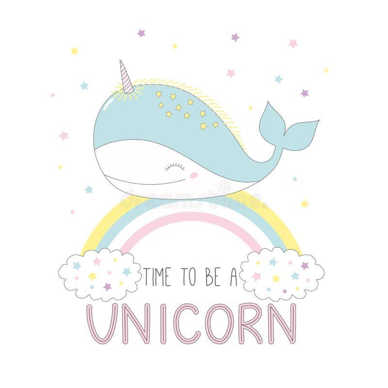 Leuke eenhoornwalvis op de regenboog royalty-vrije illustratie