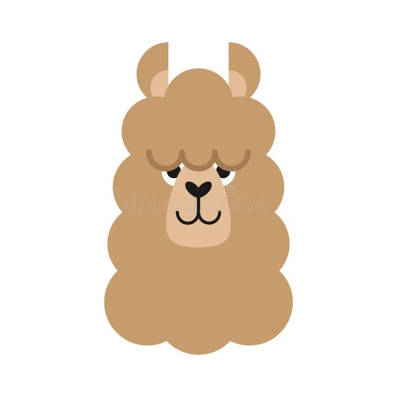 Leuke eenvoudige lama hoofdvector vector illustratie