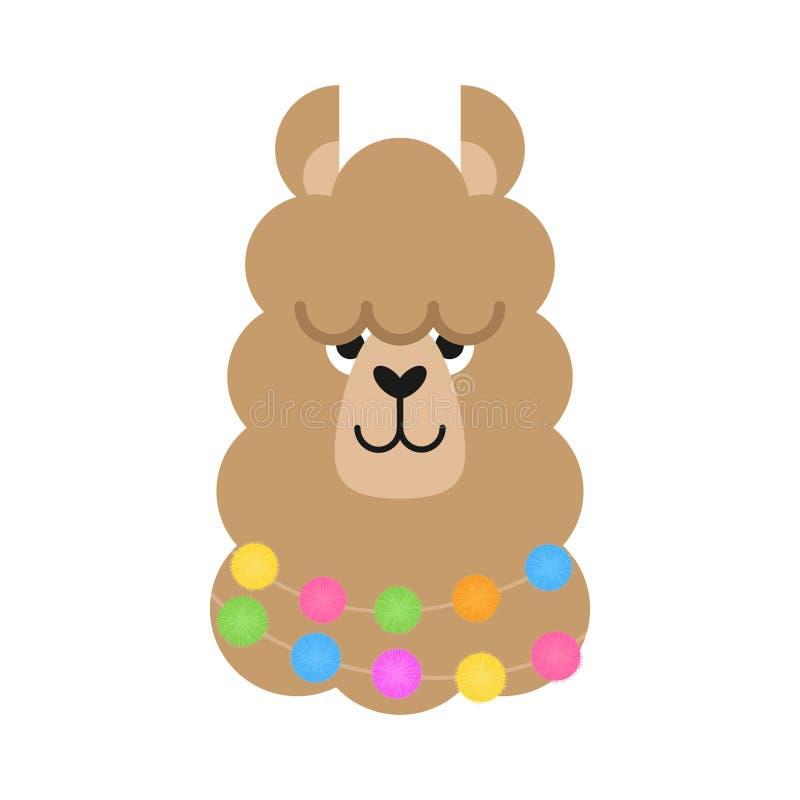 Leuke eenvoudige lama hoofdvector royalty-vrije illustratie