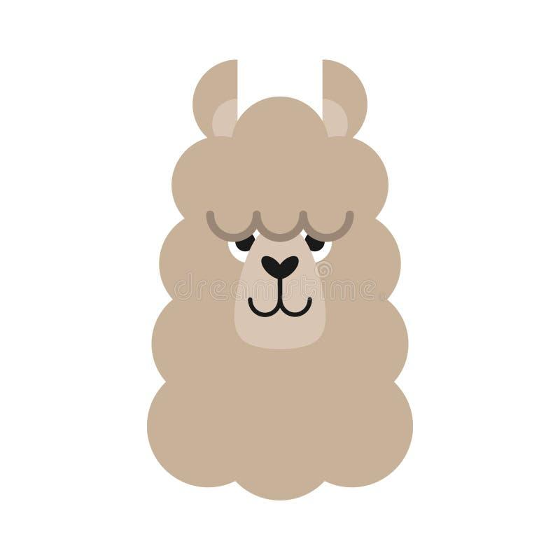 Leuke eenvoudige lama hoofdvector stock illustratie
