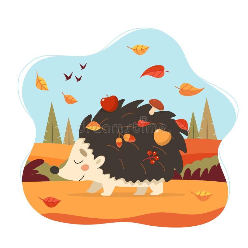 Leuke egel met de herfst bosachtergrond Egel met appelen, paddestoelen en bladeren Seizoengebonden vectorillustratie binnen royalty-vrije illustratie
