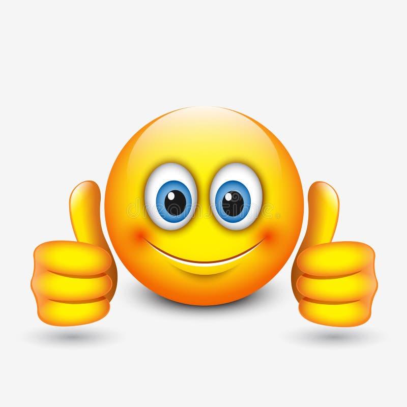 Leuke emoticon met omhoog duimen, emoji - illustratie stock illustratie