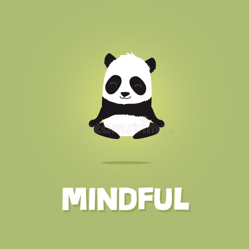 Leuke en beeldverhaalillustratie die van panda mediteren levitatie ondergaan stock illustratie