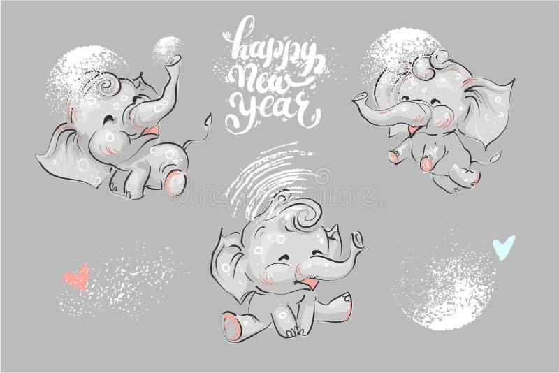 Leuke en grappige die olifant voor de vakantie van de winterchrismas en Nieuwjaar het van letters voorzien wordt geplaatst vector illustratie