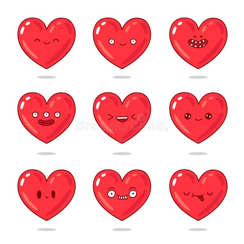 Leuke en grappige rode harten met verschillende emoties stock illustratie