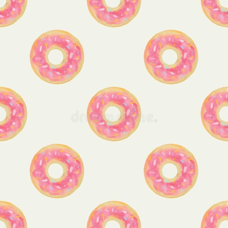 Leuke en kinderachtige naadloze achtergrond met roze donuts stock fotografie