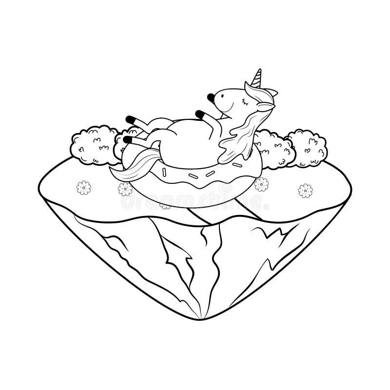 Leuke fairytaleeenhoorn in het landschap stock afbeelding