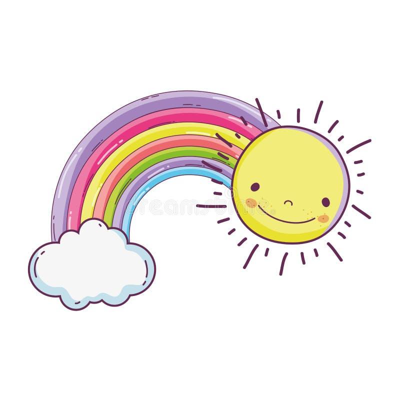 Leuke fairytaleregenboog met zon stock illustratie