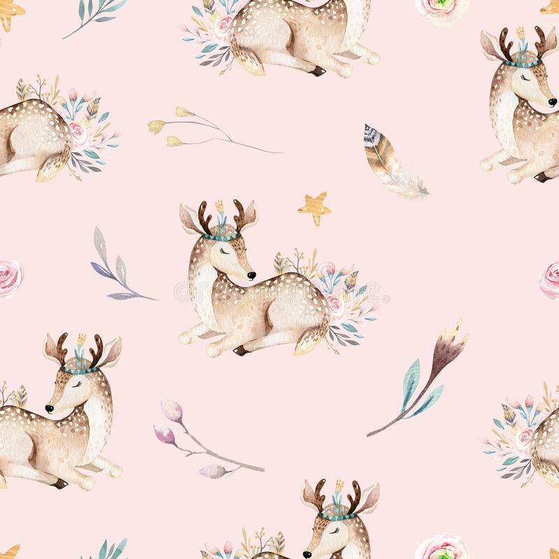 Leuke familiebaby raccon, herten en konijntje de dierlijke kinderdagverblijfgiraf, en draagt geïsoleerde illustratie Waterverfboh vector illustratie