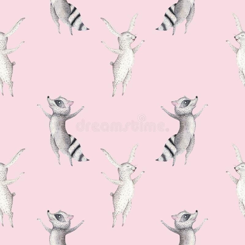 Leuke familiebaby raccon, herten en konijntje de dierlijke kinderdagverblijfgiraf, en draagt geïsoleerde illustratie Waterverfboh royalty-vrije illustratie