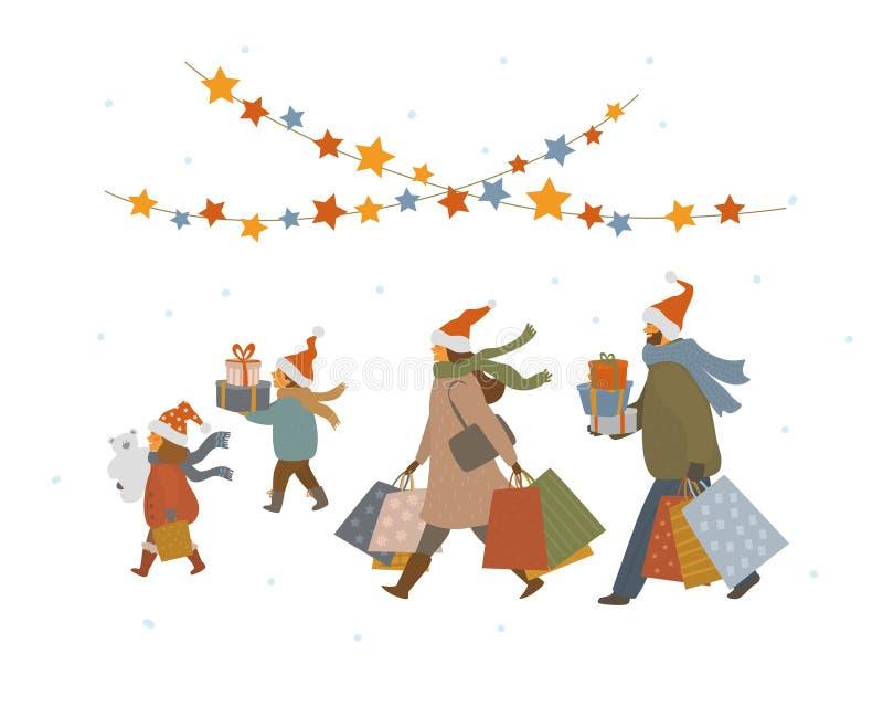Leuke familiekerstmis die, man de jongen van het vrouwenmeisje stelt het lopen met Kerstmis giftendoos en zakken voor winkelen stock illustratie