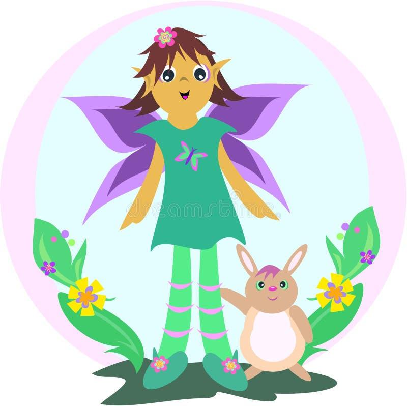 Download Leuke Fee Met Konijn In Een Tuin Vector Illustratie - Illustratie bestaande uit kleding, leuk: 10783804