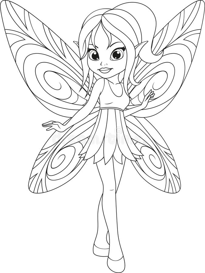 leuke fee met wingsn royalty-vrije illustratie