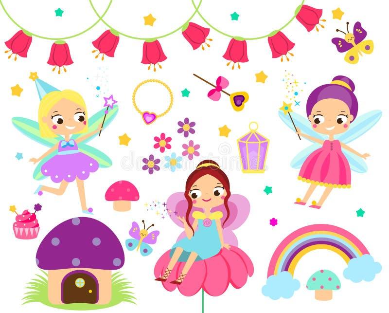 Leuke feereeks Inzameling van het ontwerpelementen van het beeldverhaalsprookje Elf, bloemen, paddestoelen en andere illustratie  stock illustratie