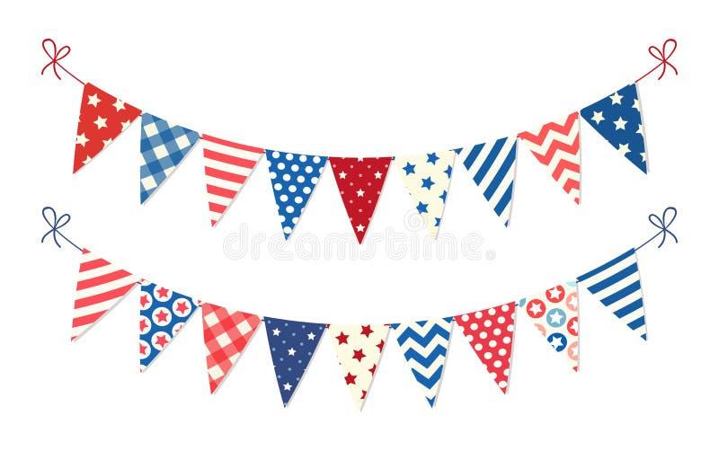 Leuke feestelijke bunting van de V.S. vlaggen in traditioneel kleurenideaal als Amerikaanse vakantiebanner royalty-vrije illustratie