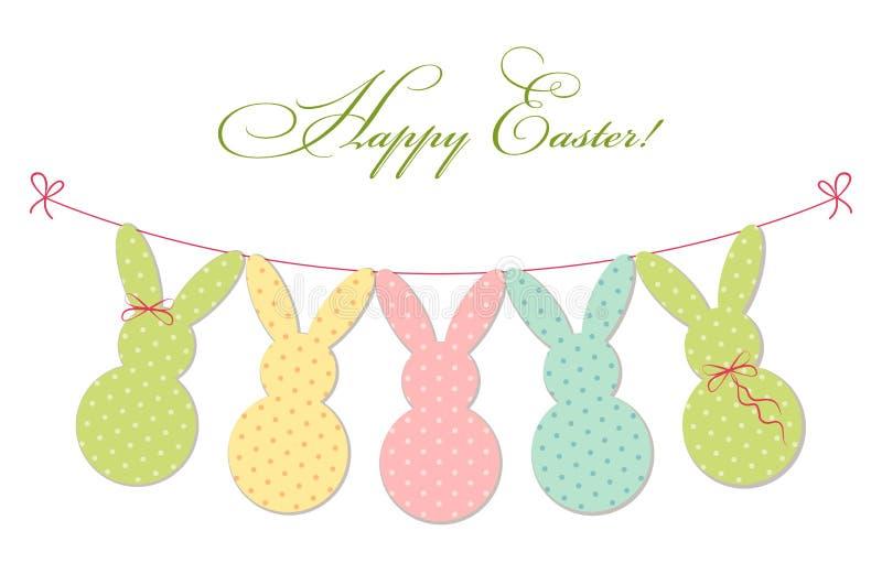 Leuke feestelijke Pasen-bunting als stippenkonijntjes vector illustratie