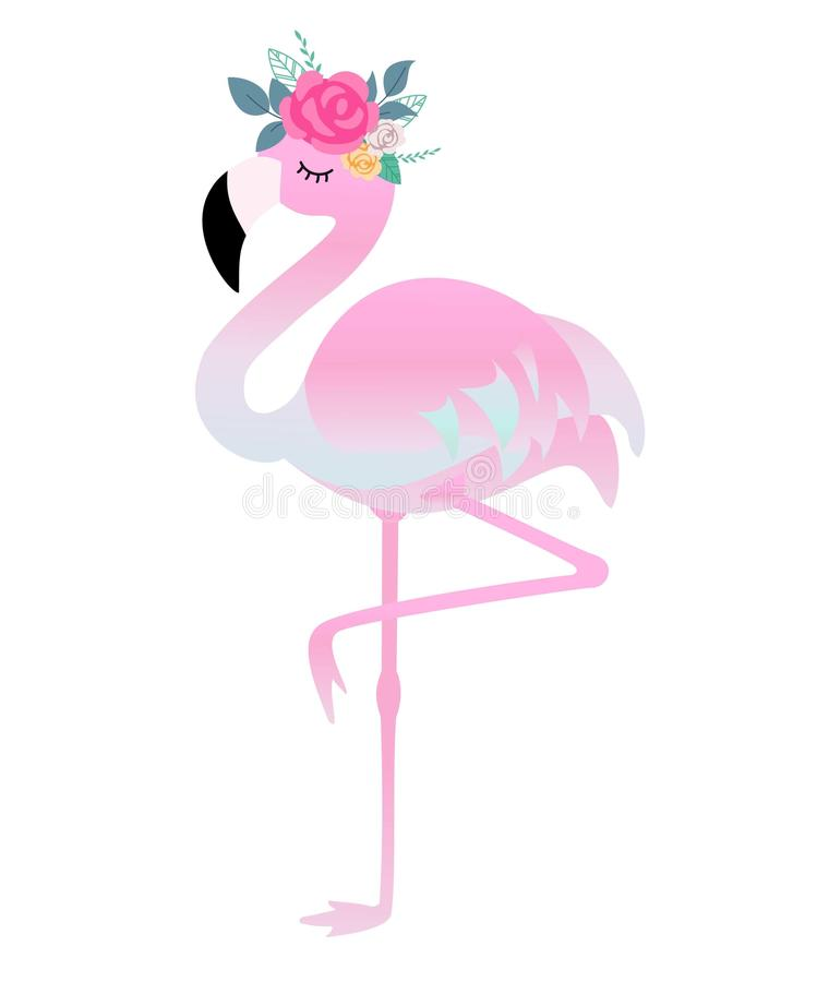 Leuke flamingo met bloemen Mooie vectorillustratie voor verjaardagskaarten, partijuitnodigingen, affiche en prentbriefkaar royalty-vrije illustratie
