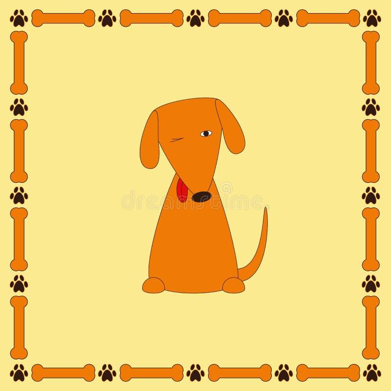 Leuke foxy hond met vooruitstekende tong in kader met beenderen en poot vector illustratie