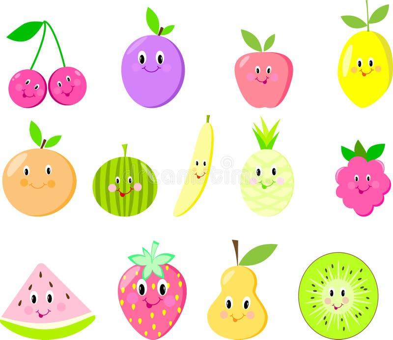 Leuke fruit vastgestelde framboos vector illustratie