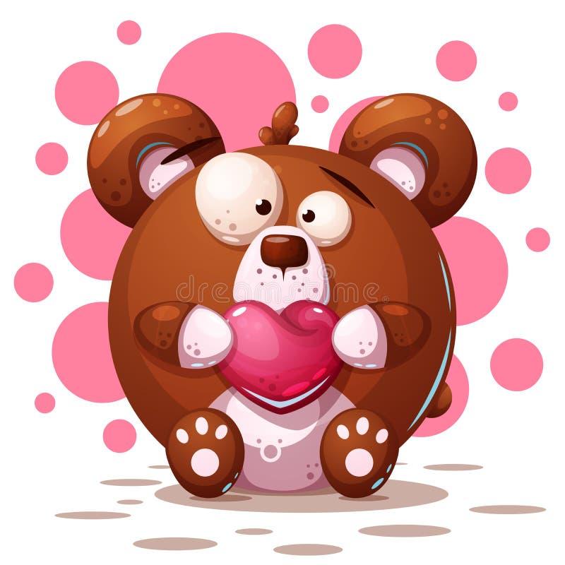 Leuke, gekke beer - beeldverhaalillustratie royalty-vrije illustratie