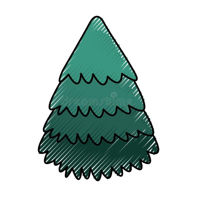 Leuke gekrabbelkerstboom vector illustratie
