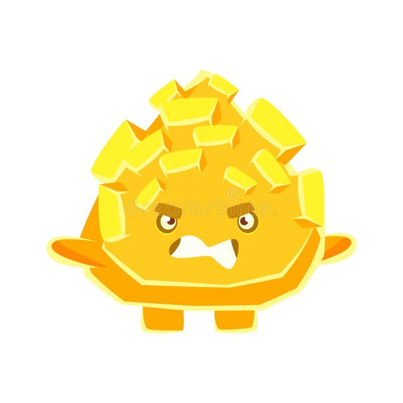 Leuke gele kristalsteen met geërgerd gezicht Het karakter vectorillustratie van beeldverhaalemoties stock illustratie