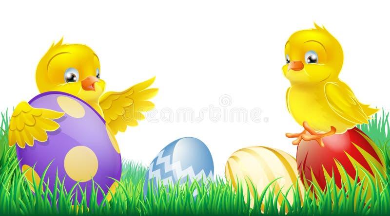 Leuke gele kuikens en Paaseieren royalty-vrije illustratie
