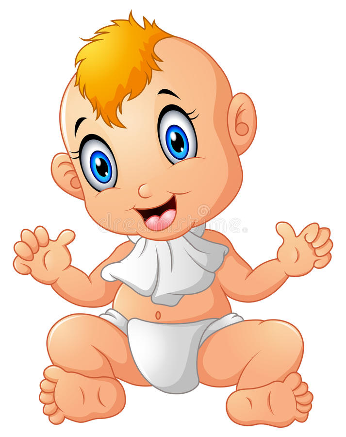 Leuke gelukkig glimlachend weinig babyjongen vector illustratie