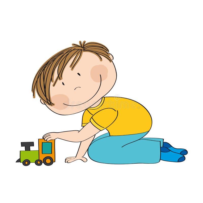 Leuke gelukkig weinig jongen knielt op de vloer, spelend met trein vector illustratie