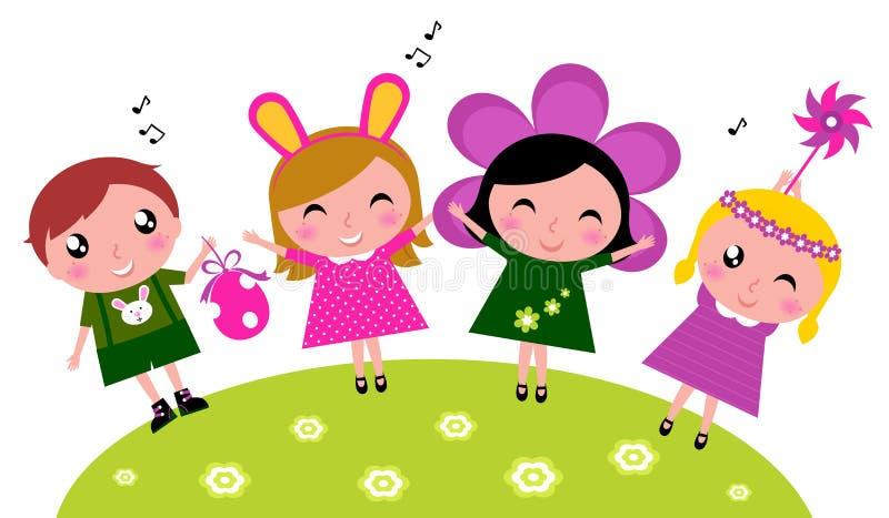 Leuke gelukkige de partijjonge geitjes van Pasen, de lenteviering vector illustratie