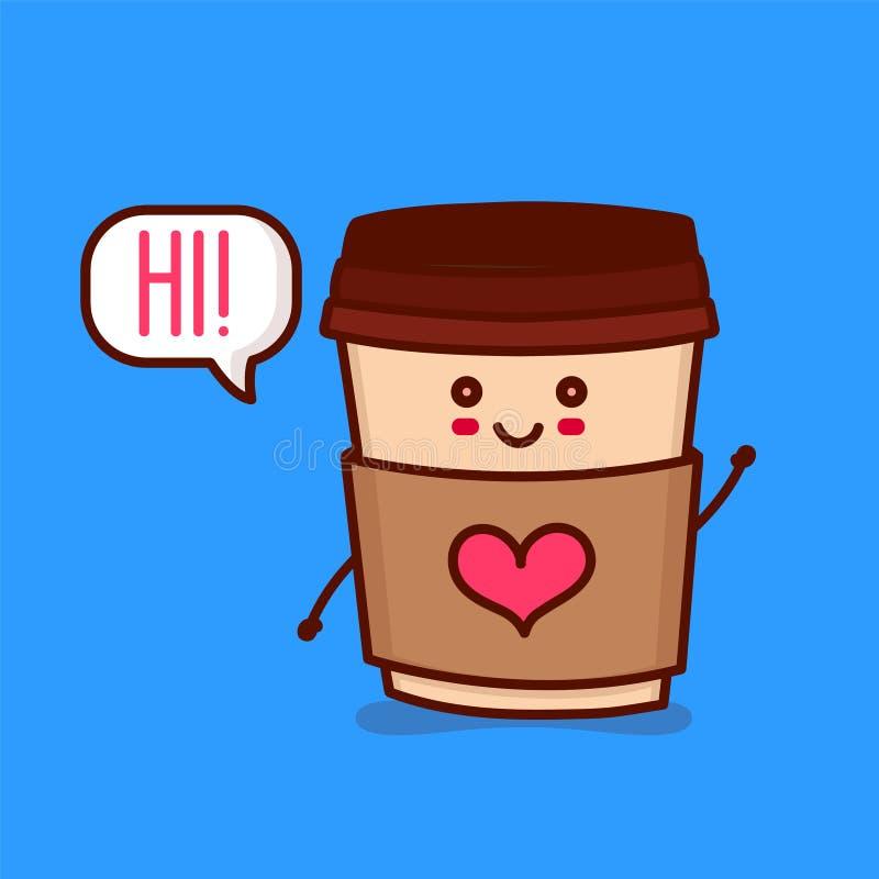 Leuke gelukkige het glimlachen document koffiekop vector illustratie