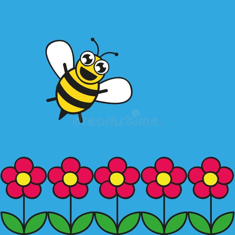 Leuke gelukkige honingbij in een roze bloemtuin royalty-vrije illustratie