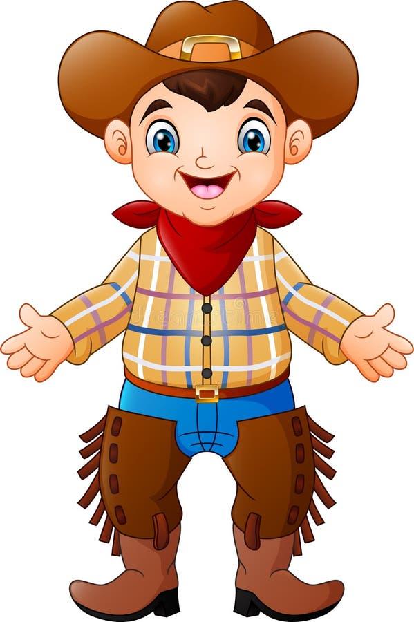 Leuke gelukkige jongen die een cowboykostuum dragen stock illustratie