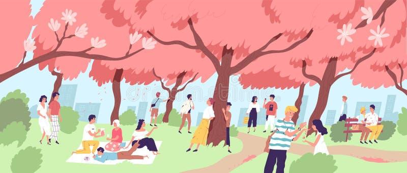 Leuke gelukkige mannen en vrouwen die kersenbloesem bekijken bij stadspark Glimlachende mensen die op bloeiende sakurabomen lette stock illustratie