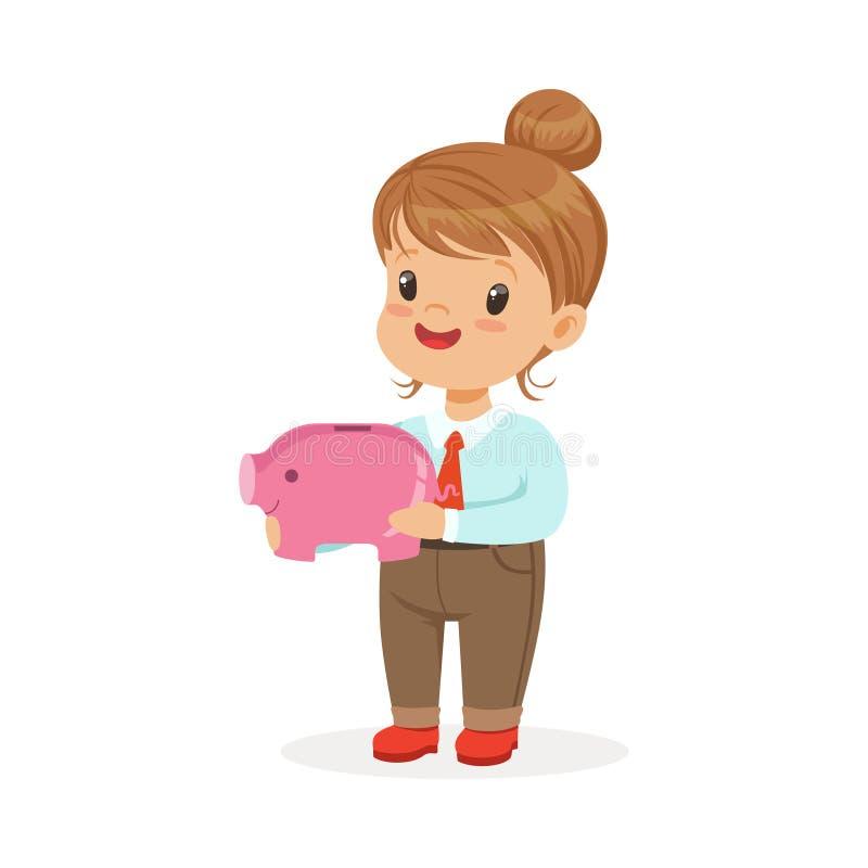 Leuke gelukkige meisjeonderneemster die een spaarvarken, jonge geitjesbesparingen en financiën een vectorillustratie houden vector illustratie