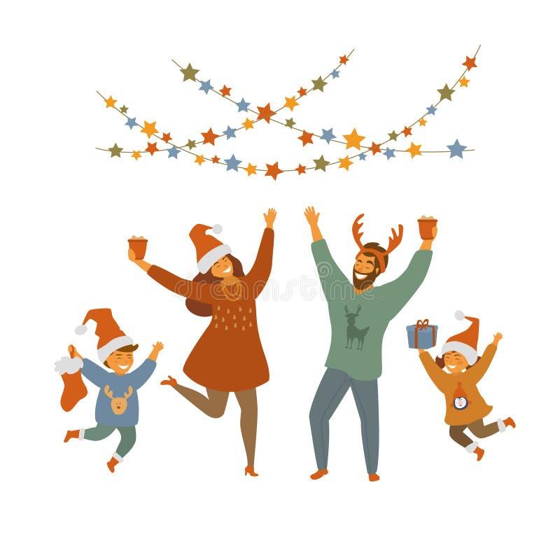 Leuke gelukkige pretfamilie het vieren Kerstmis geïsoleerde vectorillustratie stock illustratie