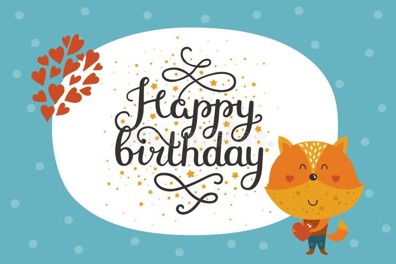 Leuke gelukkige verjaardags dierlijke kaart vector illustratie