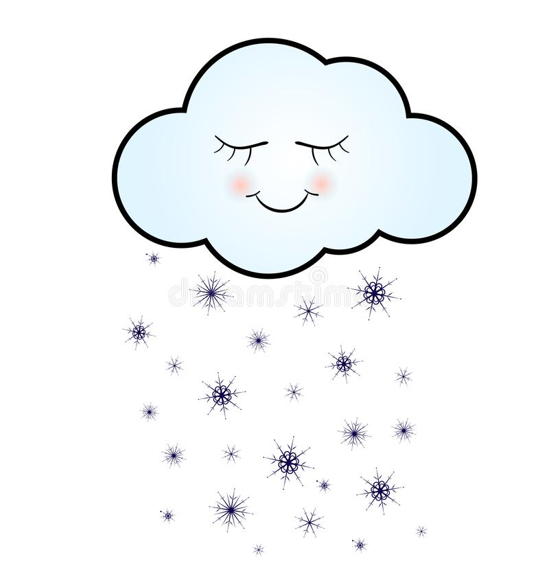 Leuke Gelukkige Wolk met Sneeuwvlokken, Druk of Pictogram Vectorillustratie stock illustratie