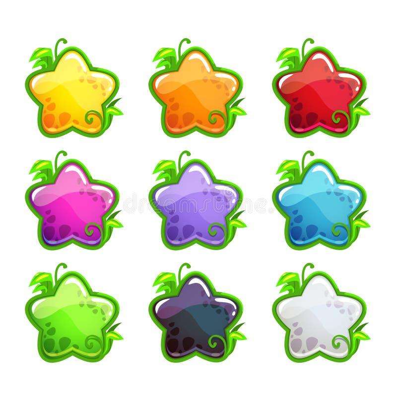 Leuke geplaatste beeldverhaal kleurrijke glanzende sterren royalty-vrije illustratie