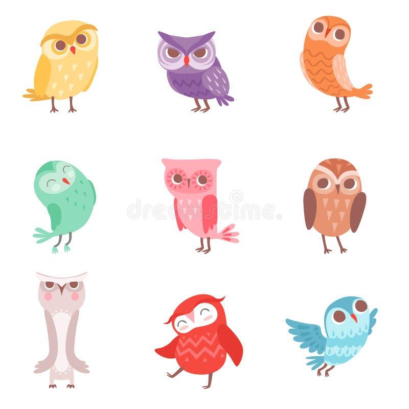 Leuke geplaatste beeldverhaal kleurrijke uilen, mooie jonge uilen vectorillustraties royalty-vrije illustratie