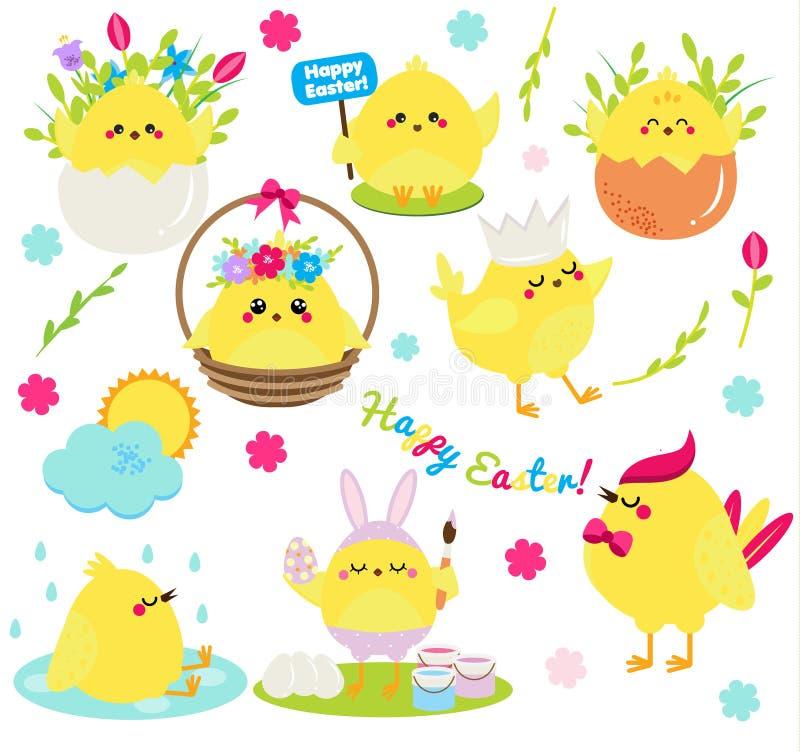 Leuke geplaatste beeldverhaalkippen Pasen-kippen in eieren anf bloemen, zingend, schilderend en hebbend pret Geïsoleerde klemkuns stock illustratie