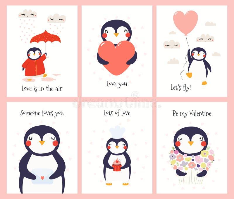 Leuke geplaatste de dagkaarten van pinguïnvalentijnskaarten royalty-vrije illustratie