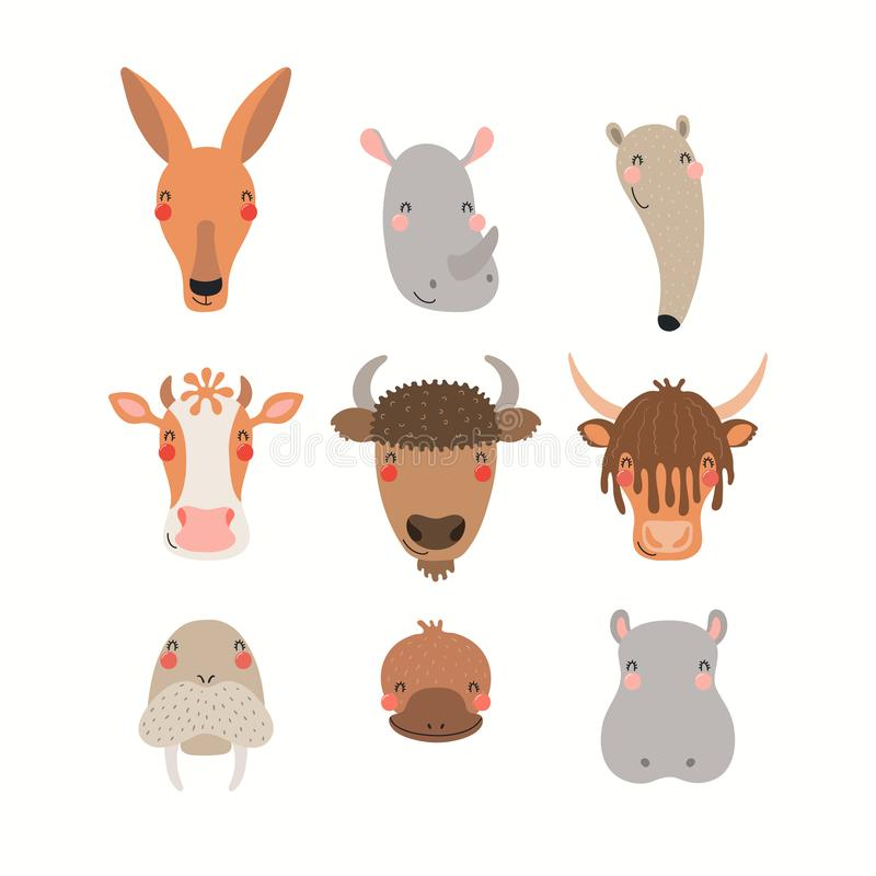 Leuke geplaatste dieren royalty-vrije illustratie