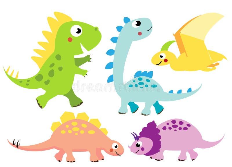 Leuke geplaatste dinosaurussen De karakters van beeldverhaaldino, geïsoleerde elementen voor jonge geitjesontwerp stock illustratie