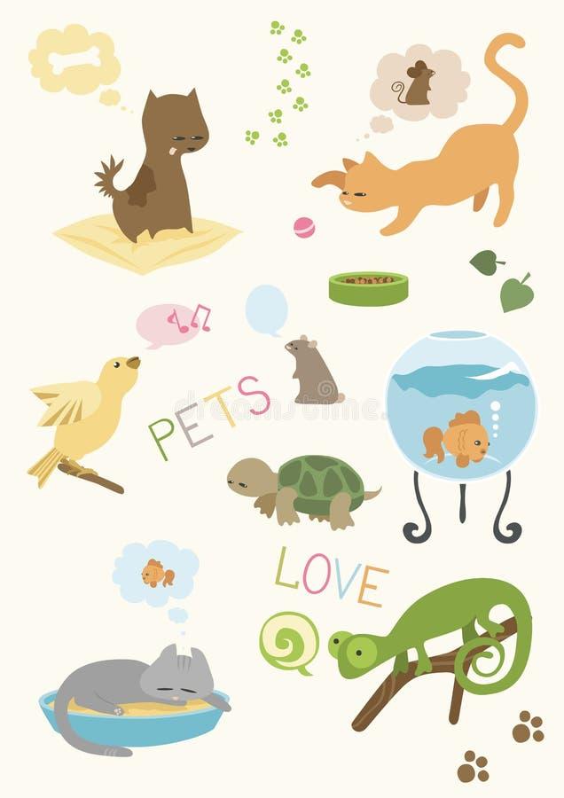 Leuke Geplaatste Huisdieren stock illustratie