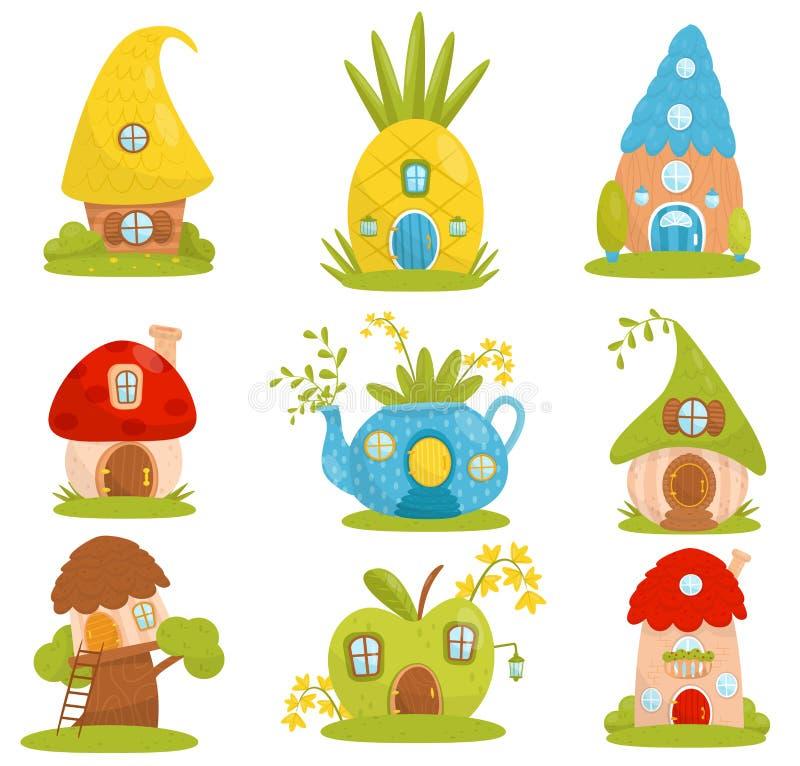 Leuke geplaatste plattelandshuisjes, fairytale fantasiehuis voor gnoom, dwerg of elf vectorillustraties op een witte achtergrond stock illustratie