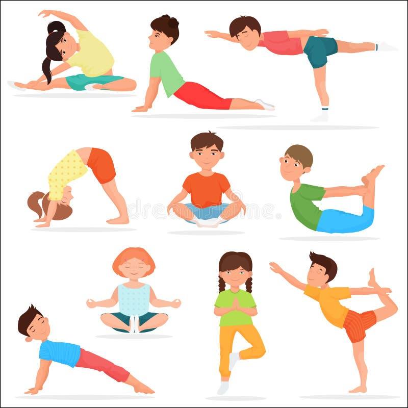 Leuke geplaatste yogajonge geitjes De gymnastiek vectorillustratie van de kinderenyoga royalty-vrije illustratie