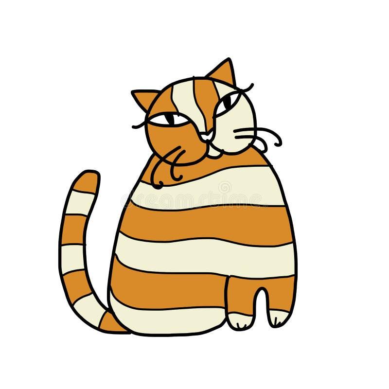 Leuke gestreepte kat voor uw ontwerp royalty-vrije illustratie
