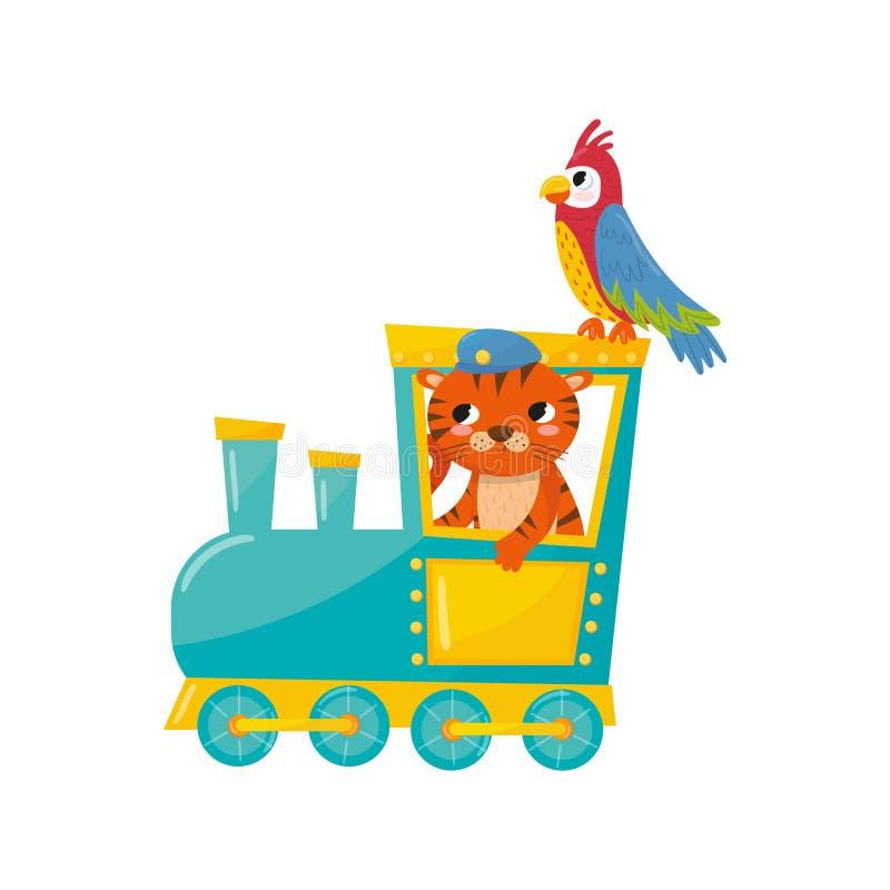 Leuke gestreepte tijger en papegaai met kleurrijke veren Beeldverhaaldieren die door trein reizen Dierentuinthema Vlak vectorelem royalty-vrije illustratie