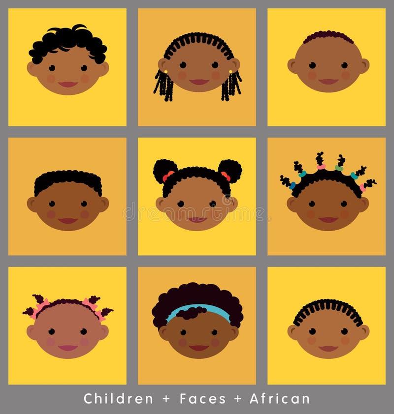 Leuke gezichten van Afrikaanse kinderen royalty-vrije illustratie